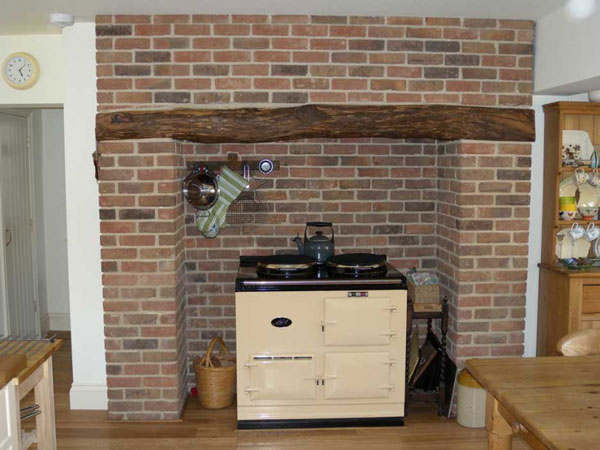 Fireplace with Aga.